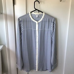 Blue & White striped button down shirt.